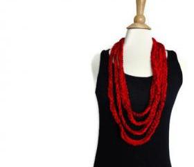 spring cowl necklace lightweight infinity scarf bright red ruby red CO-8