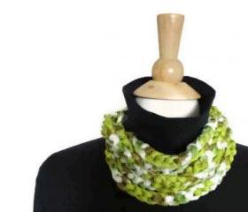 Spring cowl necklace lightweight infinity scarf spring green white tan CO-6