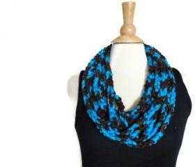 Spring cowl necklace lightweight infinity scarf aqua blue and chocolate brown CO-4