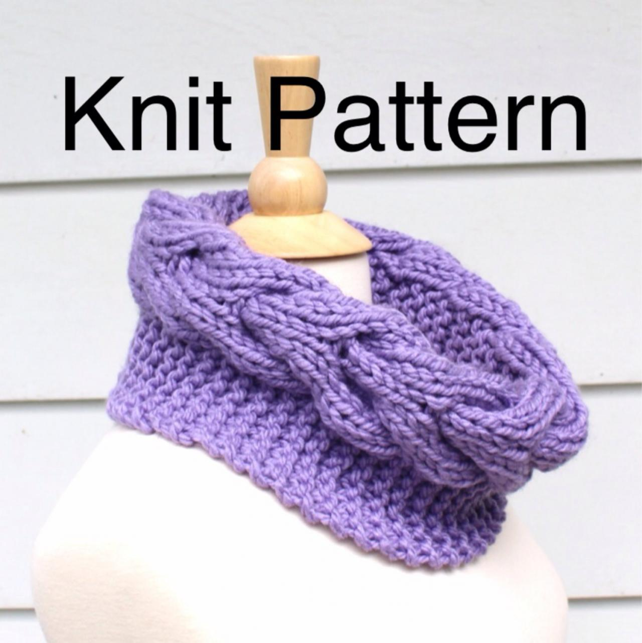 Knit Pattern Cowl Pattern- Hand Knit Cowl Scarf Pattern With A Horseshoe Cabl...