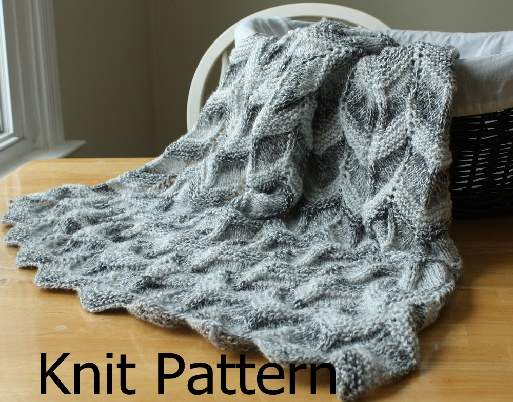 Knitting Pattern For An Easy Baby Blanket : Knit Pattern - Baby Blanket Pattern - Easy Ripple Chevron on Luulla