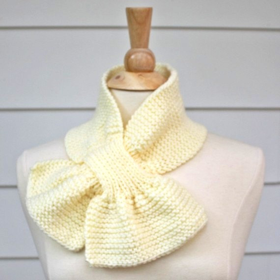 Knit Scarflette Pattern Free : Knit Scarf - Scarflette - Keyhole Scarf Cream White Warm Winter on Luulla