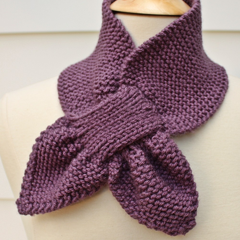 Knitting Pattern For Scarflette : Knit Scarf - Keyhole Scarf Scarflette Purple Winter on Luulla