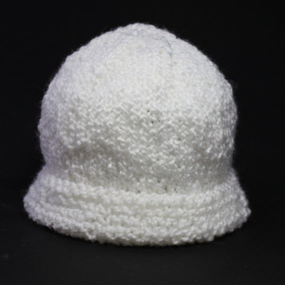 Knit baby hat cap classic white infant warm