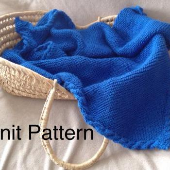 Knit baby blanket pattern - warm baby afghan with a cable border - baby boy or baby girl - pdf