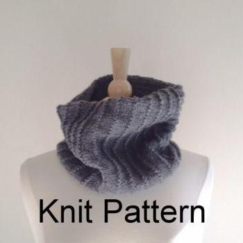 Knit Scarf Pattern - hand knitted cowl scarf pattern - circle scarf pattern - warm winter scarf pattern - oxford grey - PDF