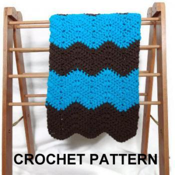 Crochet baby blanket pattern - chevron ripple afghan in blue and brown - gender neutral - pdf
