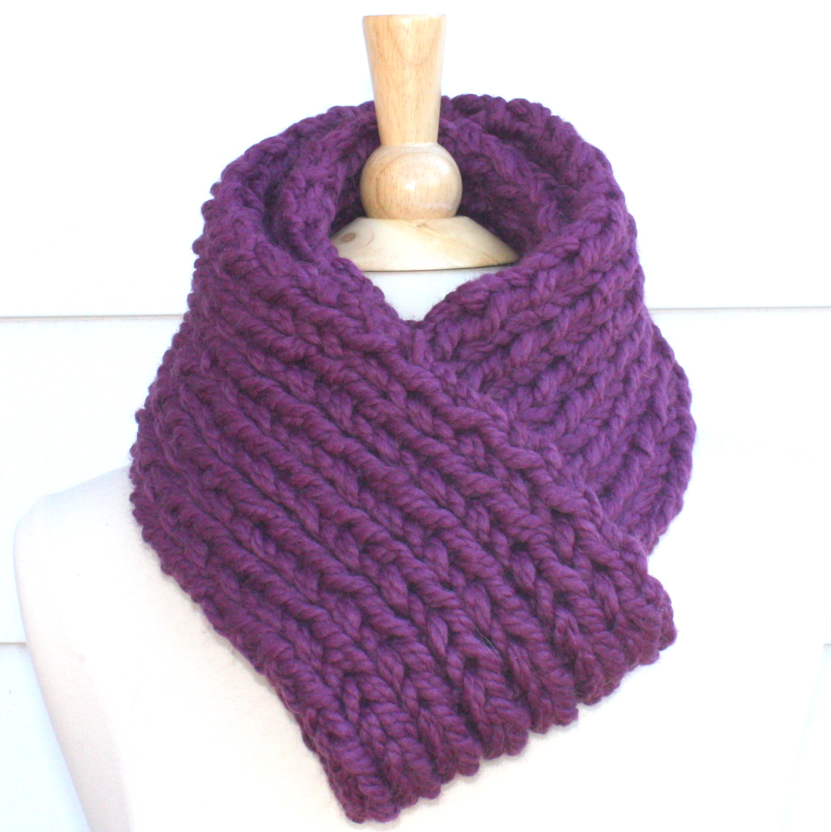 knit scarf soft winter scarf plum purple thick warm